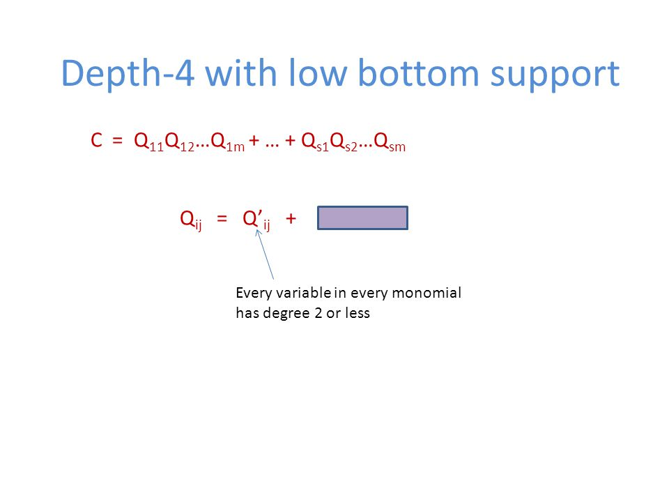 Depth-4 with low bottom support C = Q 11 Q 12 …Q 1m + … + Q s1 Q s2 …Q sm Q ij = Q' ij + Every variable in every monomial has degree 2 or less