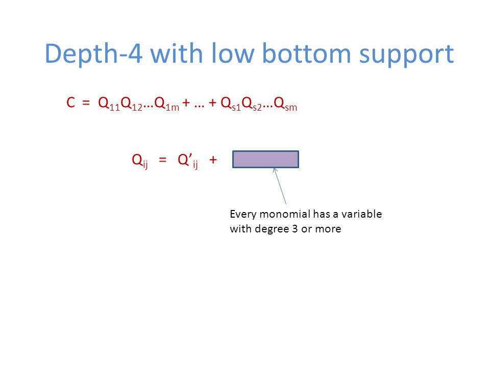 Depth-4 with low bottom support C = Q 11 Q 12 …Q 1m + … + Q s1 Q s2 …Q sm Q ij = Q' ij + Every monomial has a variable with degree 3 or more