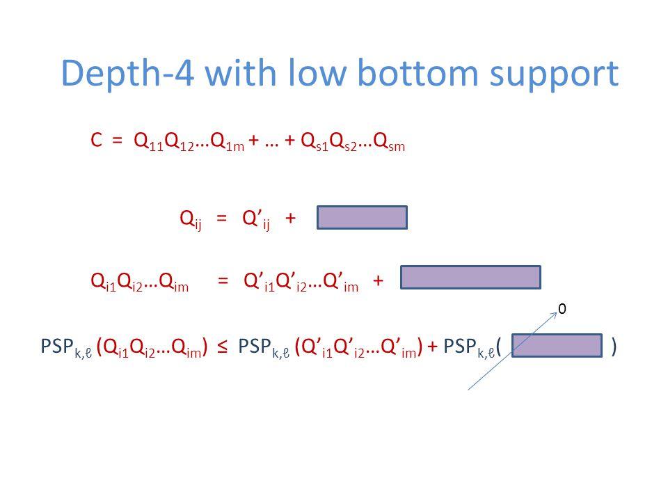 Depth-4 with low bottom support C = Q 11 Q 12 …Q 1m + … + Q s1 Q s2 …Q sm Q ij = Q' ij + Q i1 Q i2 …Q im = Q' i1 Q' i2 …Q' im + PSP k,ℓ (Q i1 Q i2 …Q im ) ≤ PSP k,ℓ (Q' i1 Q' i2 …Q' im ) + PSP k,ℓ ( ) 0