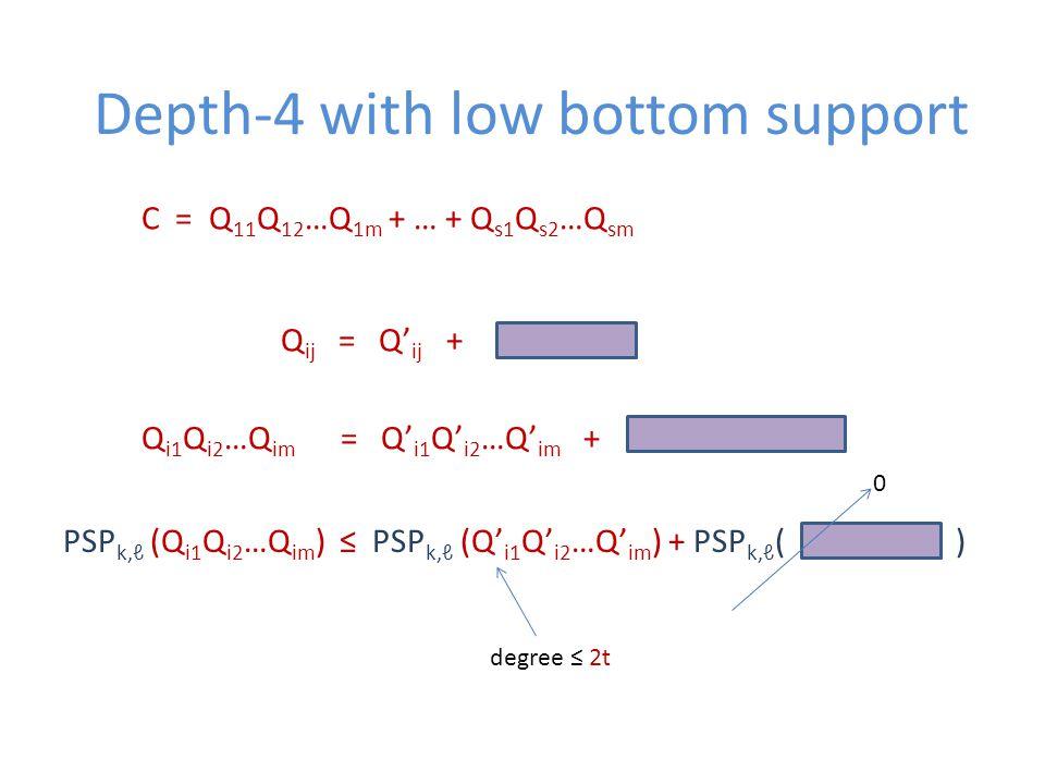 Depth-4 with low bottom support C = Q 11 Q 12 …Q 1m + … + Q s1 Q s2 …Q sm Q ij = Q' ij + Q i1 Q i2 …Q im = Q' i1 Q' i2 …Q' im + PSP k,ℓ (Q i1 Q i2 …Q im ) ≤ PSP k,ℓ (Q' i1 Q' i2 …Q' im ) + PSP k,ℓ ( ) 0 degree ≤ 2t