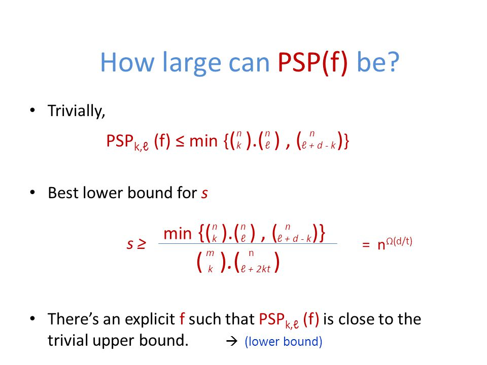 How large can PSP(f) be.