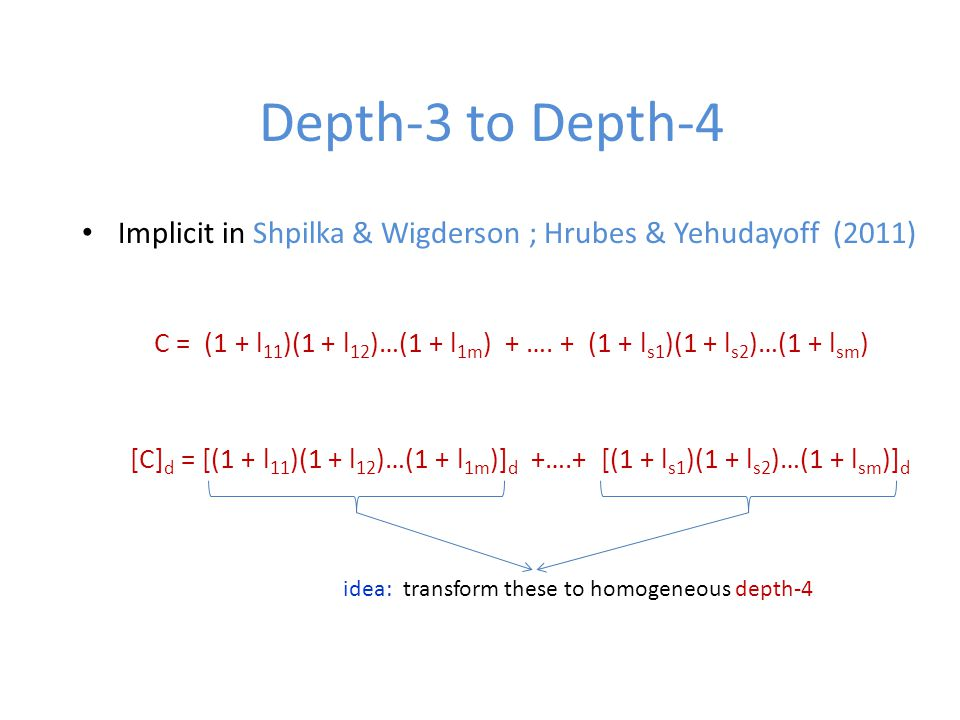 Depth-3 to Depth-4 Implicit in Shpilka & Wigderson ; Hrubes & Yehudayoff (2011) C = (1 + l 11 )(1 + l 12 )…(1 + l 1m ) + ….