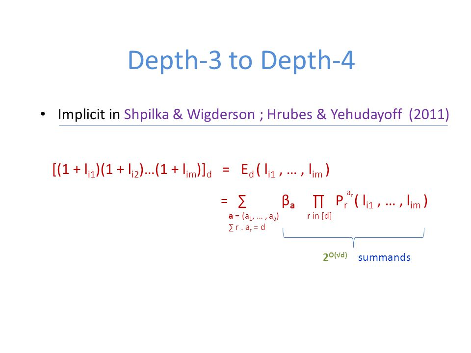 Depth-3 to Depth-4 Implicit in Shpilka & Wigderson ; Hrubes & Yehudayoff (2011) [(1 + l i1 )(1 + l i2 )…(1 + l im )] d = E d ( l i1, …, l im ) = ∑ β a ∏ P r ( l i1, …, l im ) a = (a 1, …, a d ) ∑ r.