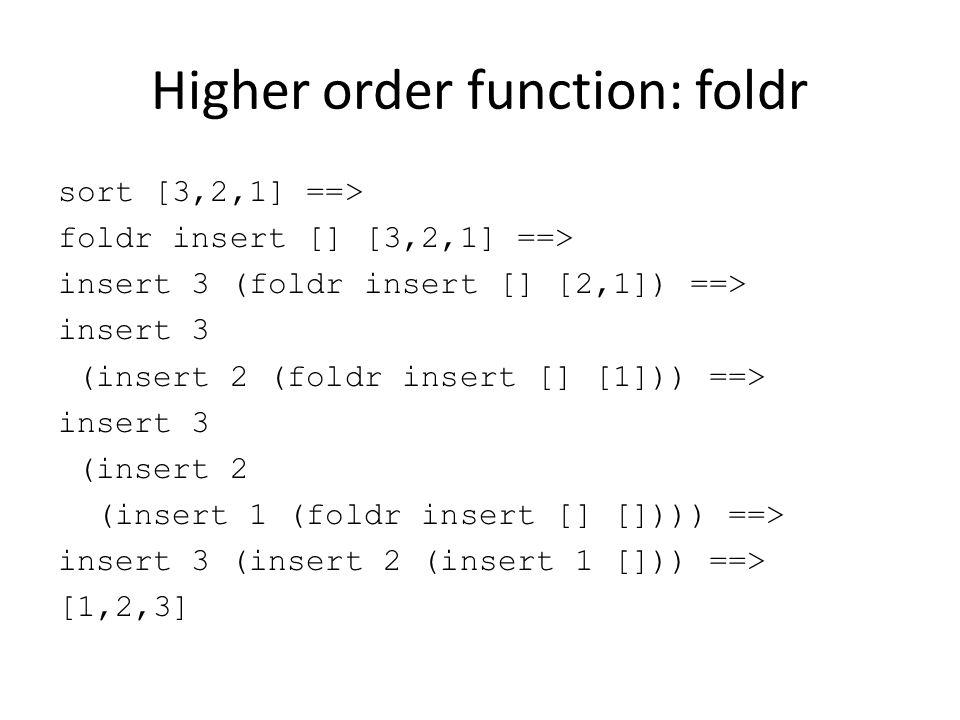 Higher order function: foldr sort [3,2,1] ==> foldr insert [] [3,2,1] ==> insert 3 (foldr insert [] [2,1]) ==> insert 3 (insert 2 (foldr insert [] [1]