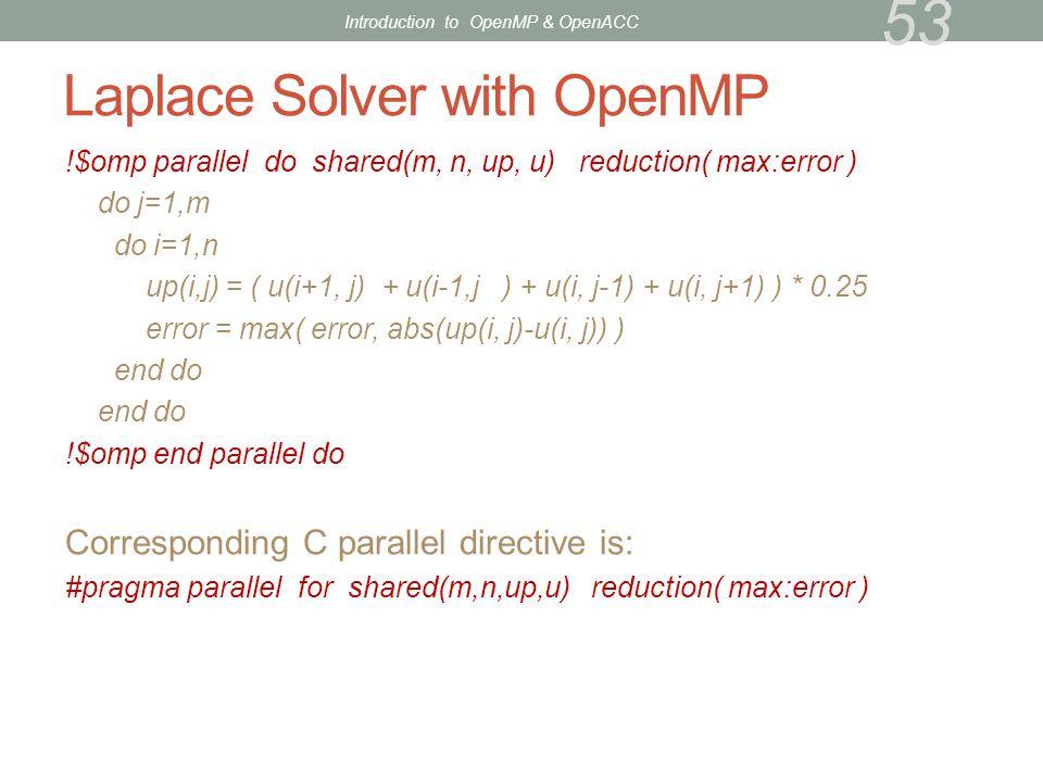 Laplace Solver with OpenMP !$omp parallel do shared(m, n, up, u) reduction( max:error ) do j=1,m do i=1,n up(i,j) = ( u(i+1, j) + u(i-1,j ) + u(i, j-1
