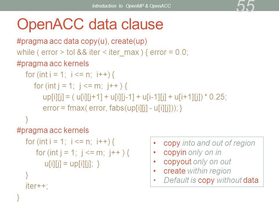 OpenACC data clause #pragma acc data copy(u), create(up) while ( error > tol && iter < iter_max ) { error = 0.0; #pragma acc kernels for (int i = 1; i