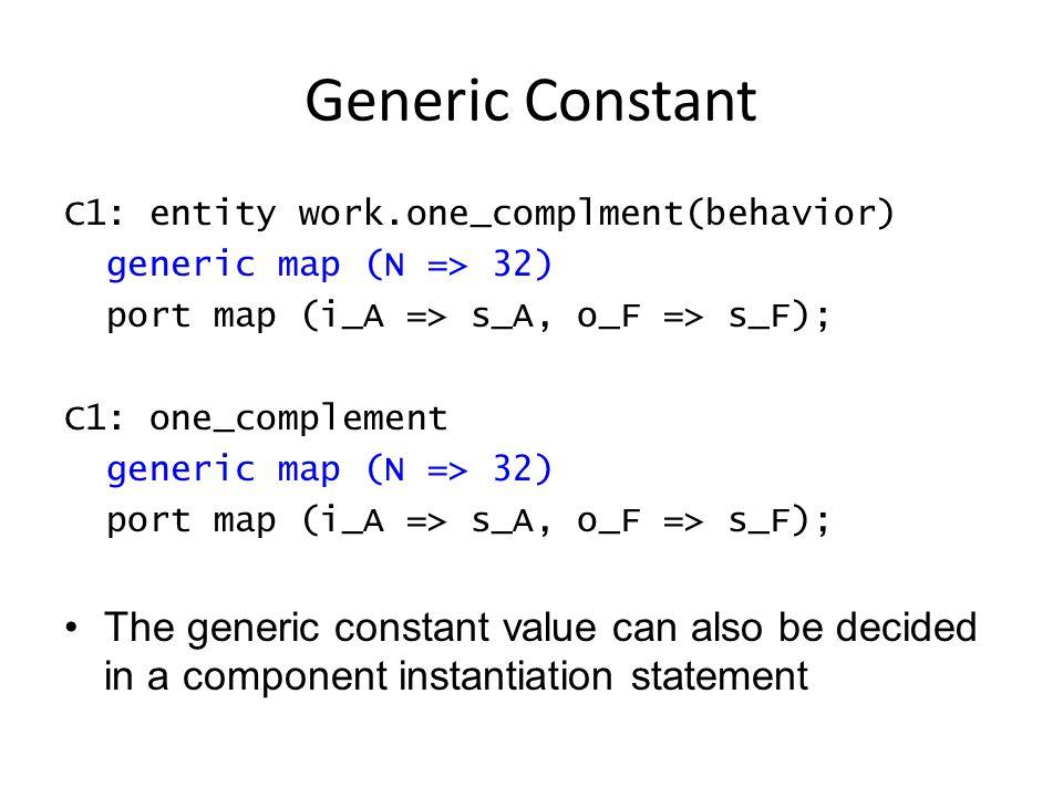 Model Truth Table Use case statement (behavior) architecture behavior of reg_decoder is begin -- input : 5-bit addr; output: 32-bit sel D : process (addr) begin case (addr) is when b 00000 => sel <= x 00000001 ; when b 00001 => sel <= x 00000002 ; … -- more cases when b 11111 => sel <= x 80000000 ; end case; end process; end behavior;