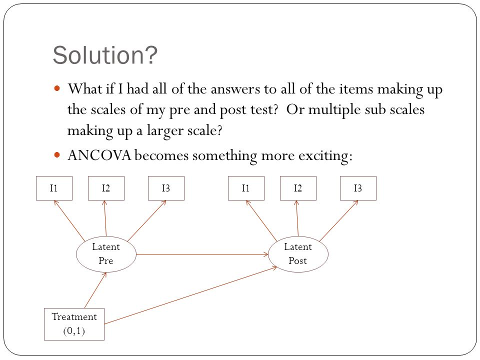 Solution? What if I had all of the answers to all of the items making up the scales of my pre and post test? Or multiple sub scales making up a larger