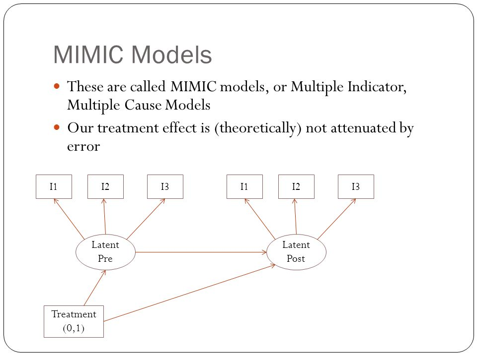 MIMIC Models These are called MIMIC models, or Multiple Indicator, Multiple Cause Models Our treatment effect is (theoretically) not attenuated by err