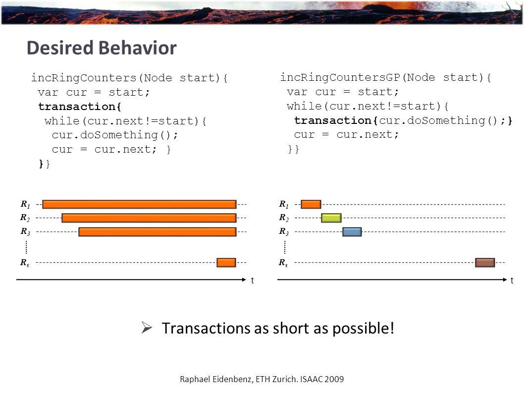 Desired Behavior Raphael Eidenbenz, ETH Zurich. ISAAC 2009 incRingCounters(Node start){ var cur = start; transaction{ while(cur.next!=start){ cur.doSo