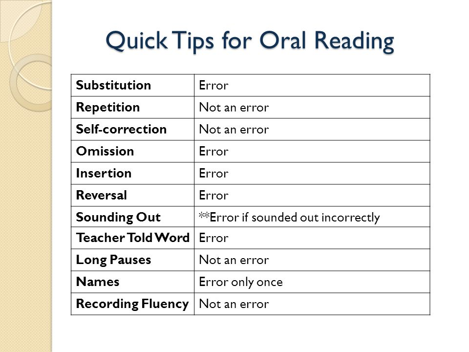 Quick Tips for Oral Reading SubstitutionError RepetitionNot an error Self-correctionNot an error OmissionError InsertionError ReversalError Sounding Out**Error if sounded out incorrectly Teacher Told WordError Long PausesNot an error NamesError only once Recording FluencyNot an error