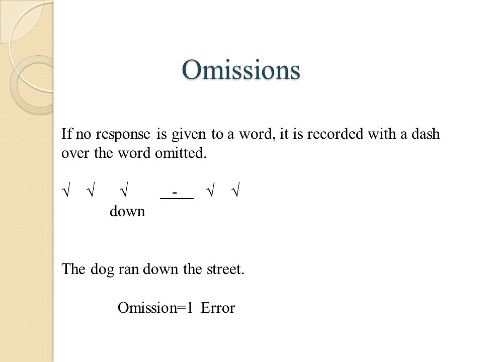 Omissions If no response is given to a word, it is recorded with a dash over the word omitted.
