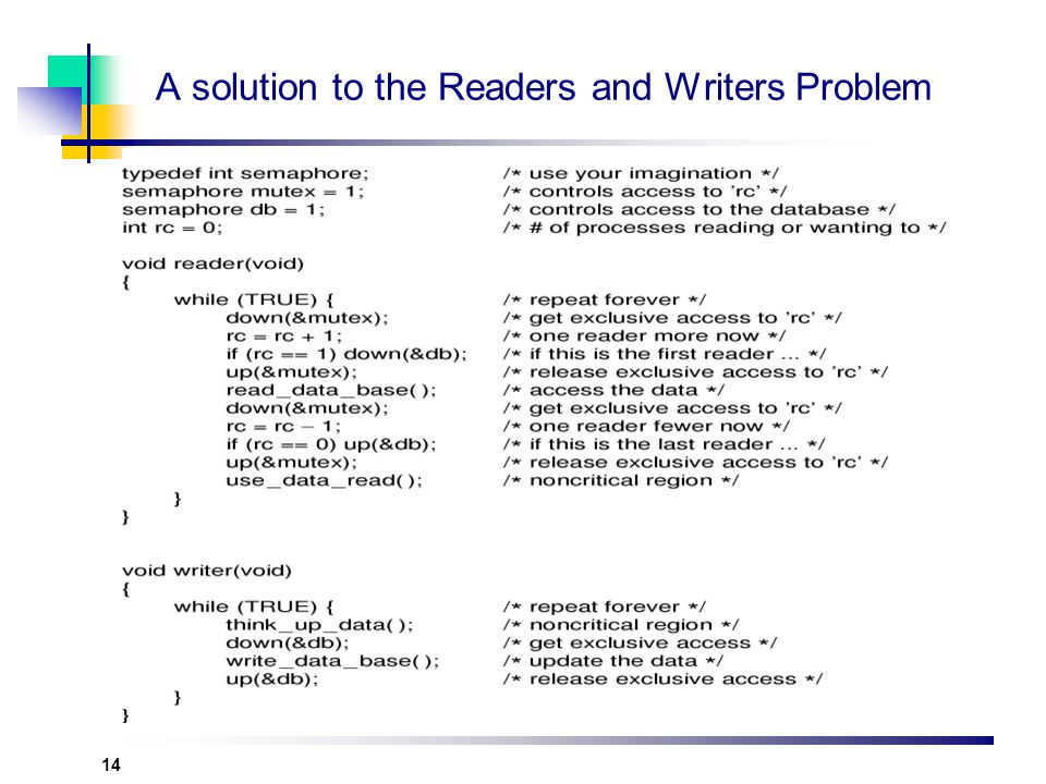 14 A solution to the Readers and Writers Problem