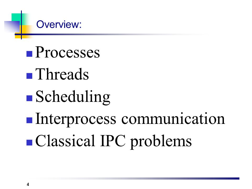 4 Overview: Processes Threads Scheduling Interprocess communication Classical IPC problems