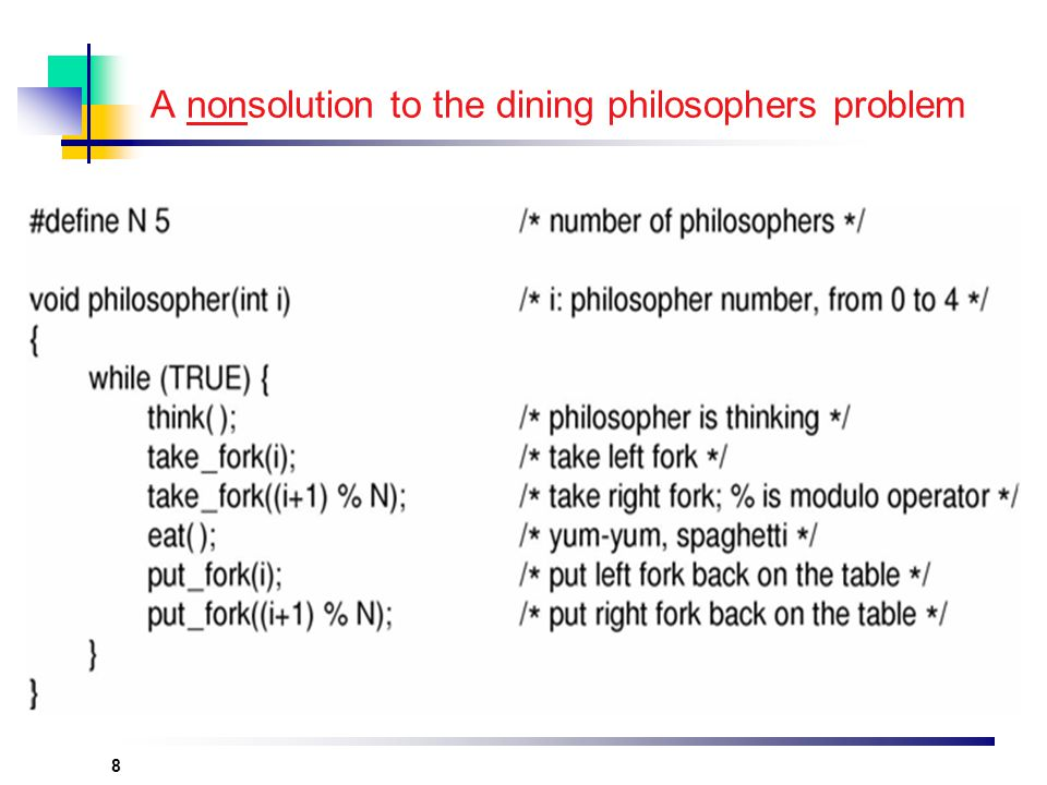 8 A nonsolution to the dining philosophers problem