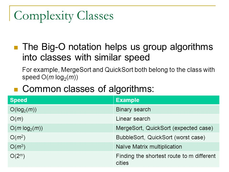 Complexity Classes The Big-O notation helps us group algorithms into classes with similar speed For example, MergeSort and QuickSort both belong to th