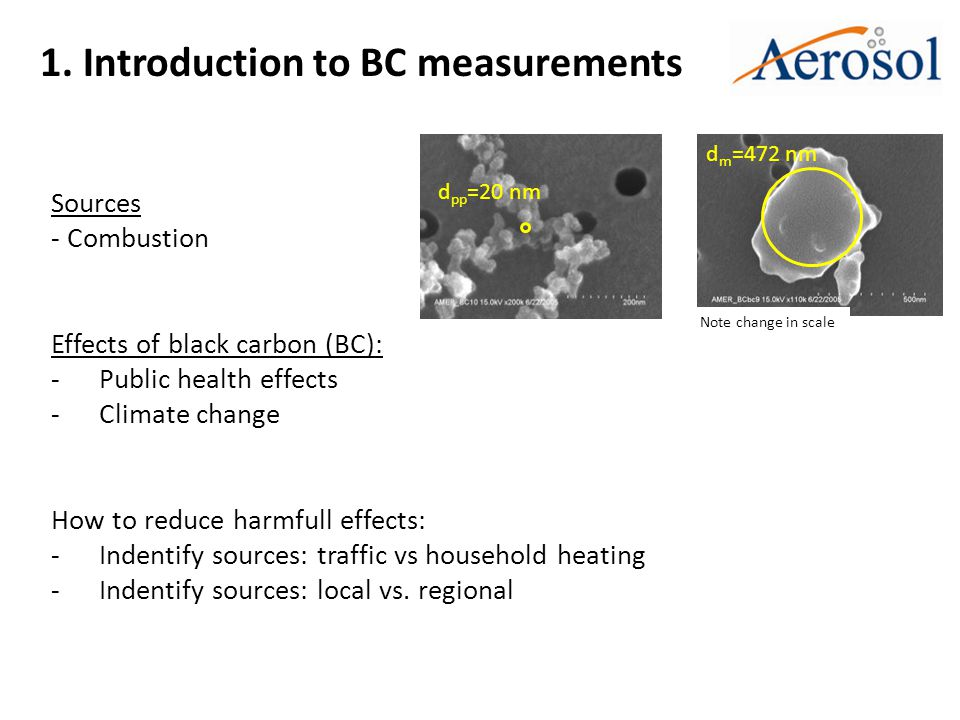 1. Introduction to BC measurements Sources - Combustion Effects of black carbon (BC): -Public health effects -Climate change How to reduce harmfull ef
