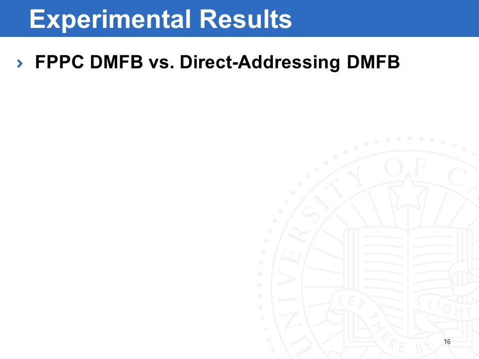 16 Experimental Results FPPC DMFB vs. Direct-Addressing DMFB