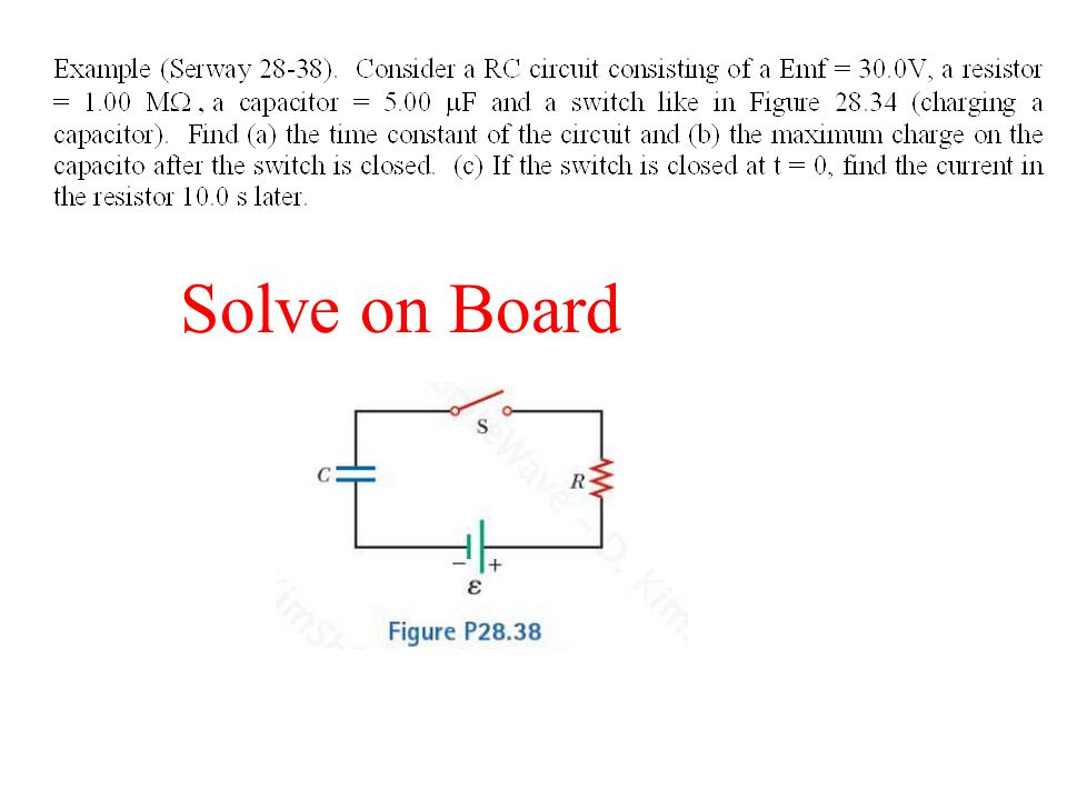 JIT Quick Quiz 28.5 Consider the circuit in the figure and assume that the battery has no internal resistance. (i)Just after the switch is closed what