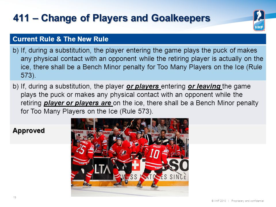 © IIHF 2010 | Proprietary and confidential 411 – Change of Players and Goalkeepers 19 Current Rule & The New Rule b) If, during a substitution, the player entering the game plays the puck of makes any physical contact with an opponent while the retiring player is actually on the ice, there shall be a Bench Minor penalty for Too Many Players on the Ice (Rule 573).