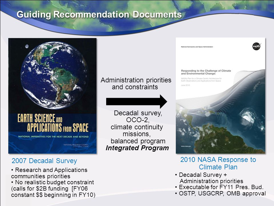 Guiding Recommendation Documents 2007 Decadal Survey Research and Applications communities priorities No realistic budget constraint (calls for $2B fu