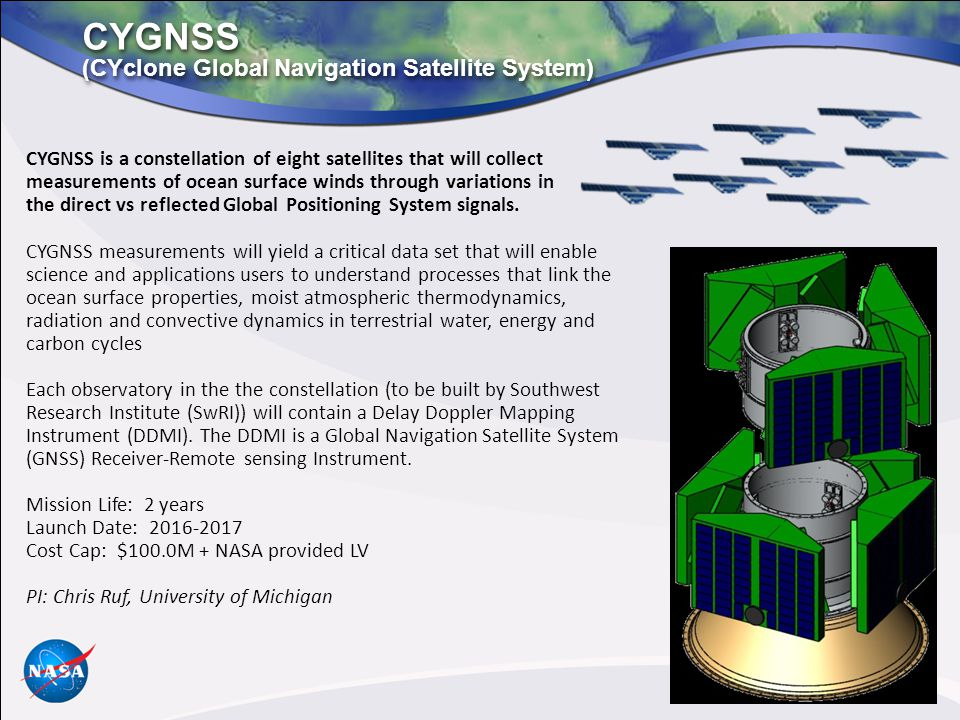 CYGNSS (CYclone Global Navigation Satellite System) CYGNSS is a constellation of eight satellites that will collect measurements of ocean surface winds through variations in the direct vs reflected Global Positioning System signals.