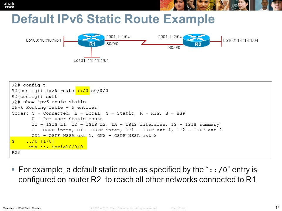 Overview of IPv6 Static Routes 17 © 2007 – 2010, Cisco Systems, Inc. All rights reserved. Cisco Public Default IPv6 Static Route Example  For example