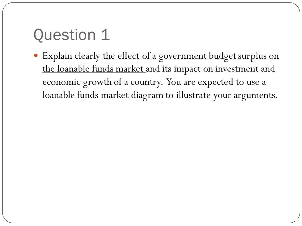 Question 1 Explain clearly the effect of a government budget surplus on the loanable funds market and its impact on investment and economic growth of