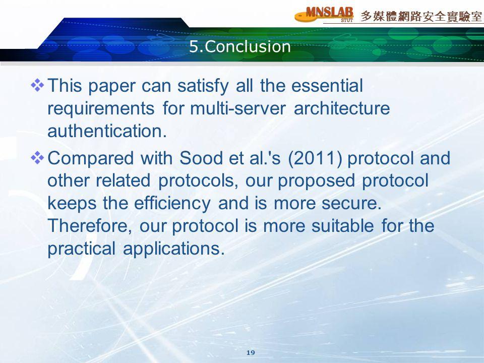 多媒體網路安全實驗室 5.Conclusion  This paper can satisfy all the essential requirements for multi-server architecture authentication.