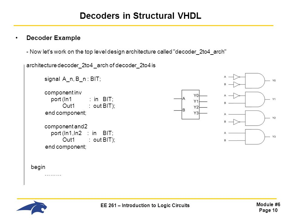 EE 261 – Introduction to Logic Circuits Module #6 Page 10 Decoders in Structural VHDL Decoder Example - Now let s work on the top level design architecture called decoder_2to4_arch architecture decoder_2to4 _arch of decoder_2to4 is signal A_n, B_n : BIT; component inv port (In1 : inBIT; Out1 : outBIT); end component; component and2 port (In1,In2 : inBIT; Out1 : outBIT); end component; begin ………