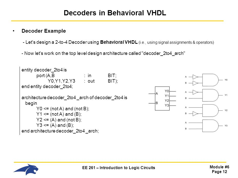 EE 261 – Introduction to Logic Circuits Module #6 Page 12 Decoders in Behavioral VHDL Decoder Example - Let s design a 2-to-4 Decoder using Behavioral VHDL (i.e., using signal assignments & operators) - Now let s work on the top level design architecture called decoder_2to4_arch entity decoder_2to4 is port (A,B : inBIT; Y0,Y1,Y2,Y3: outBIT); end entity decoder_2to4; architecture decoder_2to4 _arch of decoder_2to4 is begin Y0 <= (not A) and (not B); Y1 <= (not A) and (B); Y2 <= (A) and (not B); Y3 <= (A) and (B); end architecture decoder_2to4 _arch;