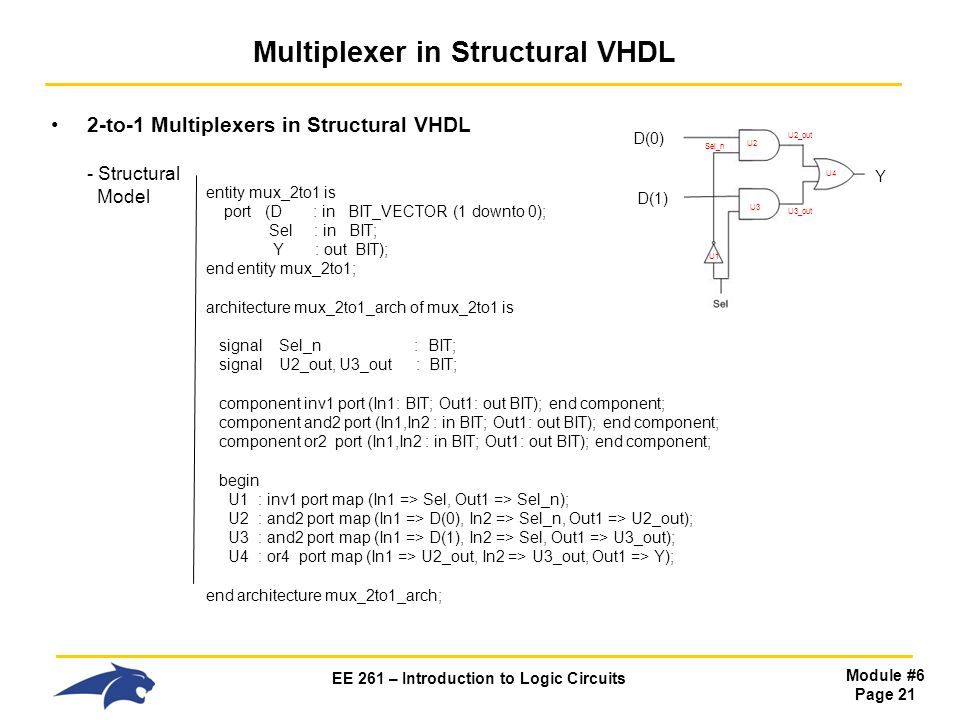 EE 261 – Introduction to Logic Circuits Module #6 Page 21 Multiplexer in Structural VHDL 2-to-1 Multiplexers in Structural VHDL - Structural Model entity mux_2to1 is port (D : in BIT_VECTOR (1 downto 0); Sel : in BIT; Y : out BIT); end entity mux_2to1; architecture mux_2to1_arch of mux_2to1 is signal Sel_n : BIT; signal U2_out, U3_out : BIT; component inv1 port (In1: BIT; Out1: out BIT); end component; component and2 port (In1,In2 : in BIT; Out1: out BIT); end component; component or2 port (In1,In2 : in BIT; Out1: out BIT); end component; begin U1 : inv1 port map (In1 => Sel, Out1 => Sel_n); U2 : and2 port map (In1 => D(0), In2 => Sel_n, Out1 => U2_out); U3 : and2 port map (In1 => D(1), In2 => Sel, Out1 => U3_out); U4 : or4 port map (In1 => U2_out, In2 => U3_out, Out1 => Y); end architecture mux_2to1_arch; Sel_n U1 U2 U3 U2_out U3_out U4 D(0) D(1) Y
