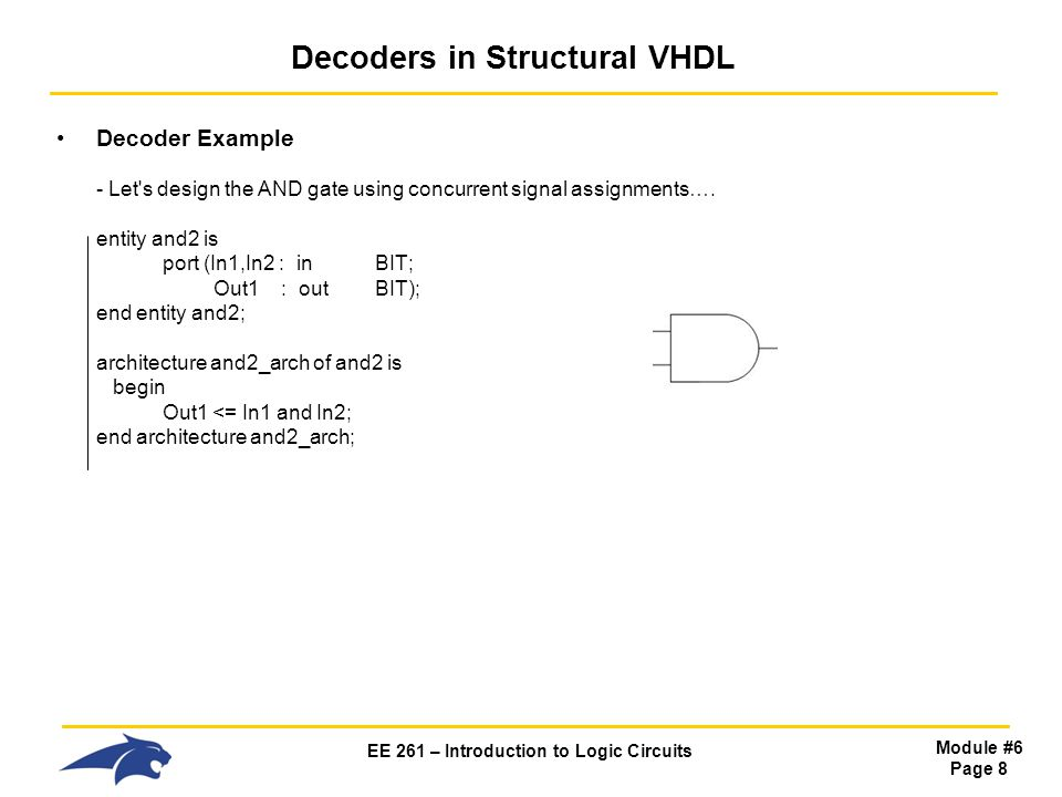 EE 261 – Introduction to Logic Circuits Module #6 Page 8 Decoders in Structural VHDL Decoder Example - Let s design the AND gate using concurrent signal assignments….