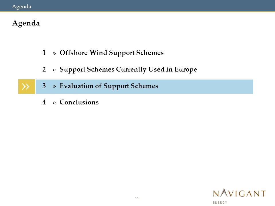 11 ENERGY Agenda » 1» Offshore Wind Support Schemes 2» Support Schemes Currently Used in Europe 3» Evaluation of Support Schemes 4» Conclusions