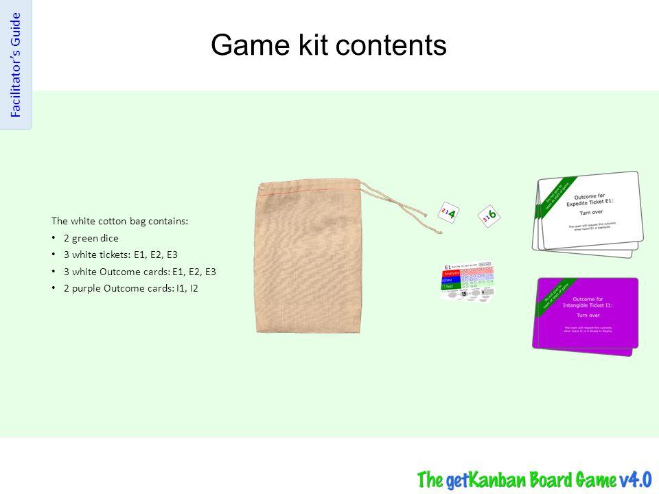 Game kit contents Facilitator's Guide The white cotton bag contains: 2 green dice 3 white tickets: E1, E2, E3 3 white Outcome cards: E1, E2, E3 2 purp