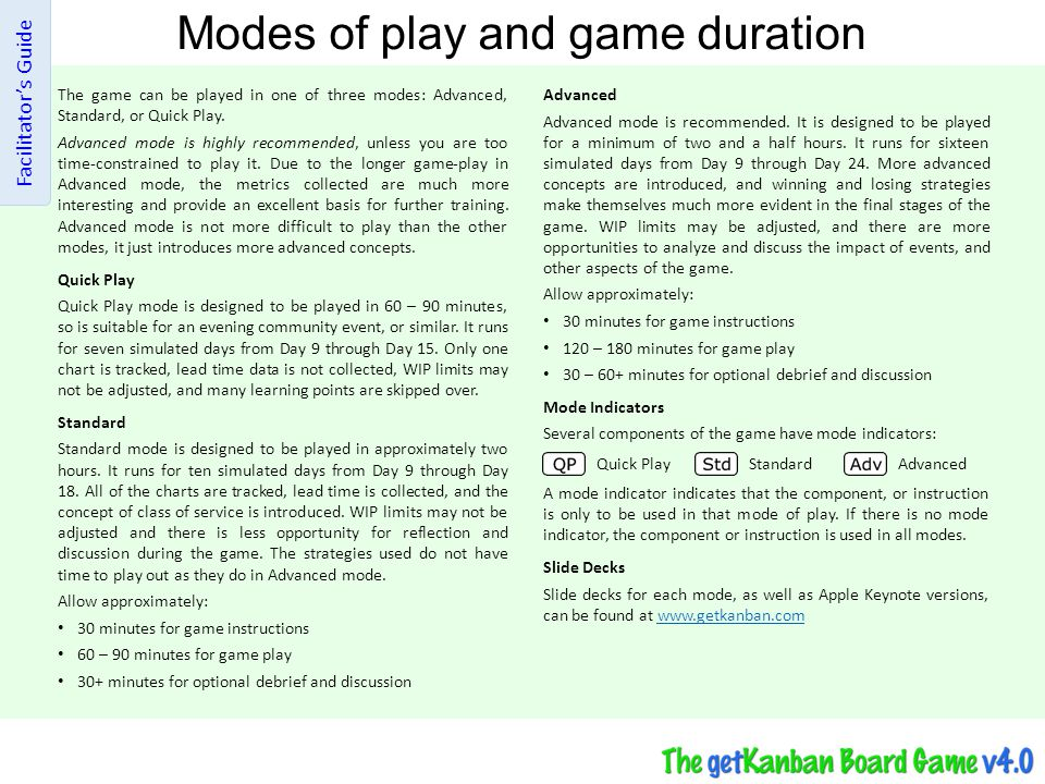 Modes of play and game duration The game can be played in one of three modes: Advanced, Standard, or Quick Play. Advanced mode is highly recommended,
