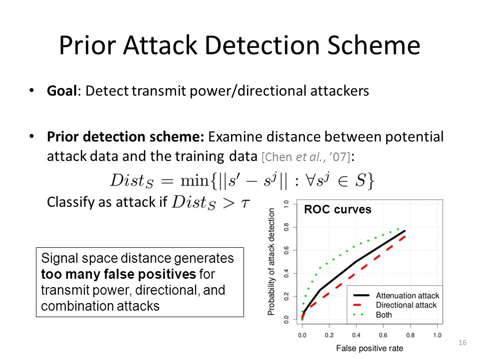 Prior Attack Detection Scheme Goal: Detect transmit power/directional attackers Prior detection scheme: Examine distance between potential attack data