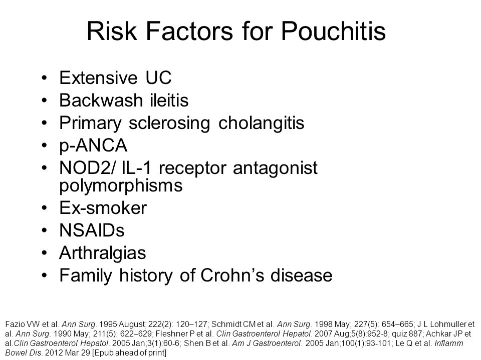 Risk Factors for Pouchitis Extensive UC Backwash ileitis Primary sclerosing cholangitis p-ANCA NOD2/ IL-1 receptor antagonist polymorphisms Ex-smoker NSAIDs Arthralgias Family history of Crohn's disease Fazio VW et al.
