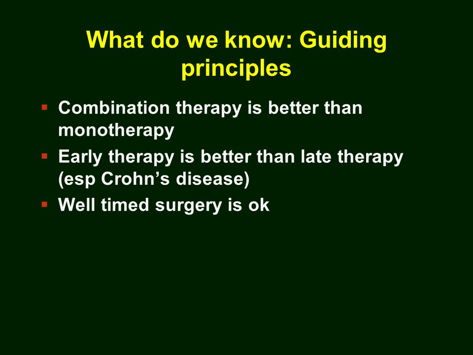 Indications for Surgery  Crohn's disease:  Obstruction  Medically refractory disease  Hemorrhage/transfusion requirements  High grade dysplasia or cancer  Growth delay  Fistula/abscess  Ulcerative colitis:  Medically refractory disease/fulminant disease  High grade dysplasia or cancer  Hemorrhage/transfusion requirements  Perforation