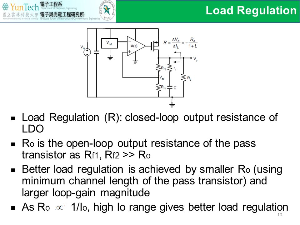 Load Regulation (R): closed-loop output resistance of LDO R o is the open-loop output resistance of the pass transistor as R f1, R f2 >> R o Better load regulation is achieved by smaller R o (using minimum channel length of the pass transistor) and larger loop-gain magnitude As R o 1/I o, high Io range gives better load regulation Load Regulation 10