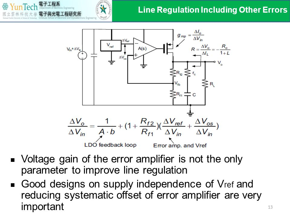 Voltage gain of the error amplifier is not the only parameter to improve line regulation Good designs on supply independence of V ref and reducing sys