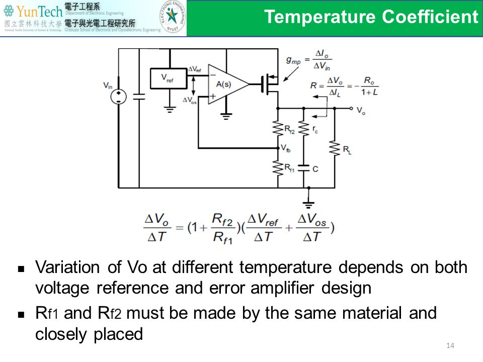 Variation of Vo at different temperature depends on both voltage reference and error amplifier design R f1 and R f2 must be made by the same material and closely placed Temperature Coefficient 14