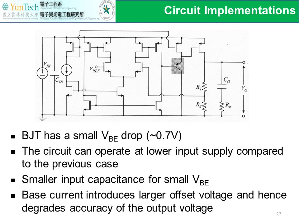 Circuit Implementations 27 BJT has a small V BE drop (~0.7V) The circuit can operate at lower input supply compared to the previous case Smaller input capacitance for small V BE Base current introduces larger offset voltage and hence degrades accuracy of the output voltage