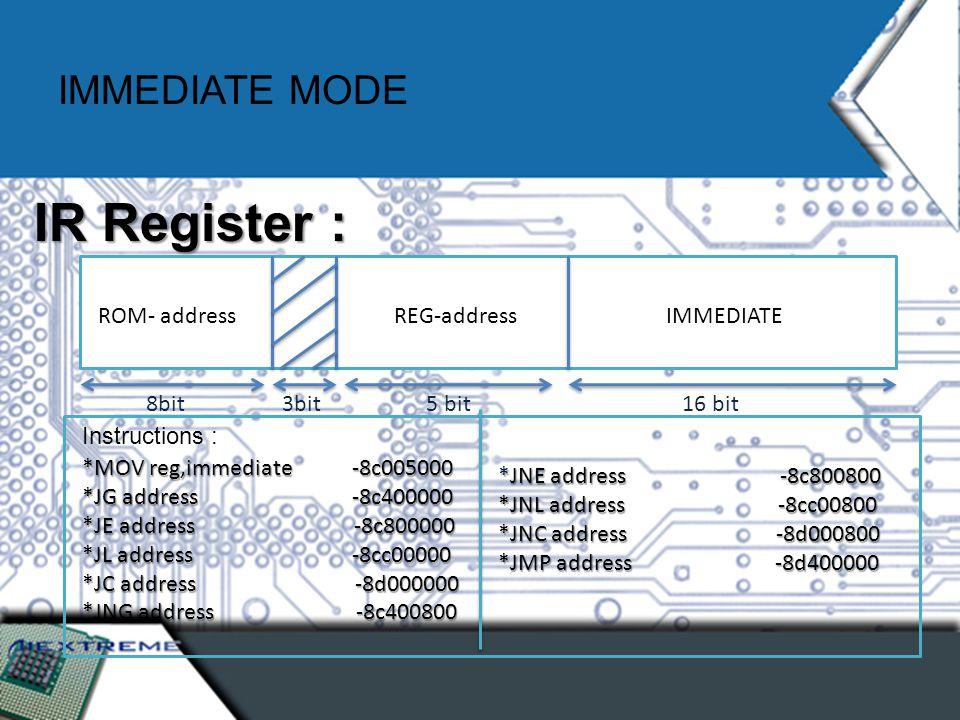 IMMEDIATE MODE ROM- address 8bit REG-address 5 bit3bit IMMEDIATE 16 bit IR Register : Instructions : *MOV reg,immediate -8c005000 *JG address -8c400000 *JE address -8c800000 *JL address -8cc00000 *JC address -8d000000 *JNG address -8c400800 *JNE address -8c800800 *JNL address -8cc00800 *JNC address -8d000800 *JMP address -8d400000