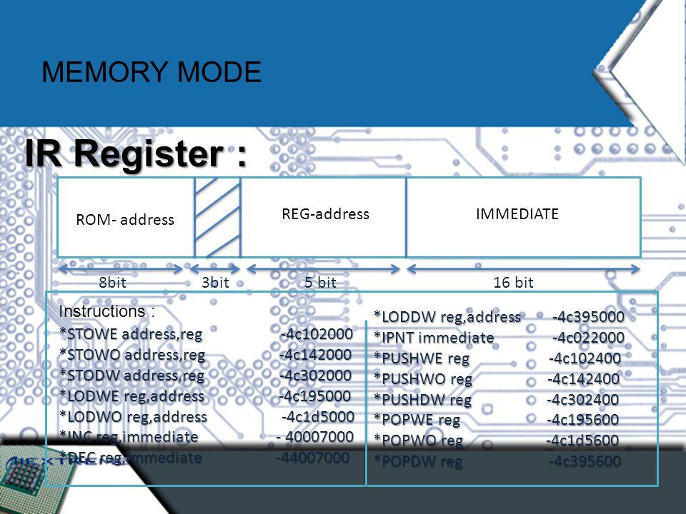 MEMORY MODE IR Register : ROM- address 8bit IMMEDIATE 16 bit REG-address 3bit5 bit Instructions : *STOWE address,reg -4c102000 *STOWO address,reg -4c142000 *STODW address,reg -4c302000 *LODWE reg,address -4c195000 *LODWO reg,address -4c1d5000 *INC reg,immediate - 40007000 *DEC reg,immediate -44007000 *LODDW reg,address -4c395000 *IPNT immediate -4c022000 *PUSHWE reg -4c102400 *PUSHWO reg -4c142400 *PUSHDW reg -4c302400 *POPWE reg -4c195600 *POPWO reg -4c1d5600 *POPDW reg -4c395600