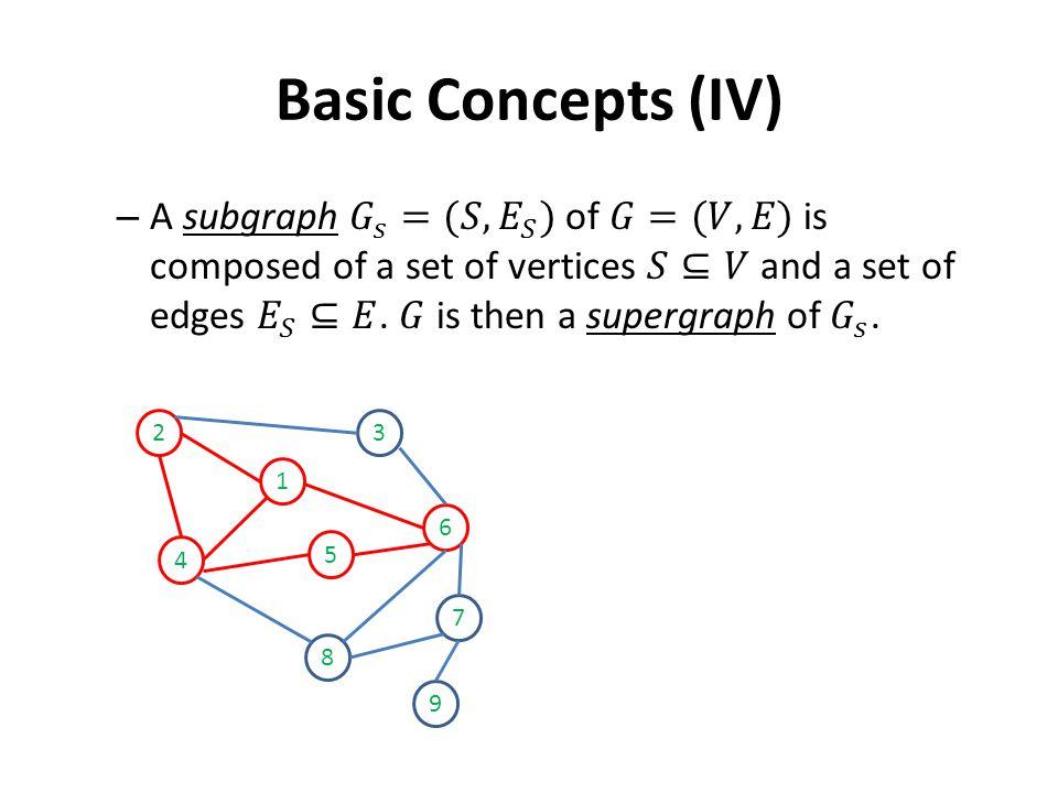 Basic Concepts (IV) 2 1 4 5 3 6 7 8 9
