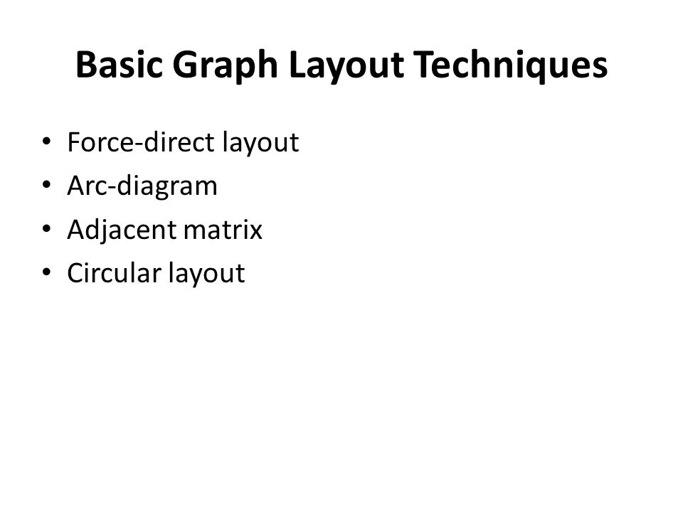 Basic Graph Layout Techniques Force-direct layout Arc-diagram Adjacent matrix Circular layout