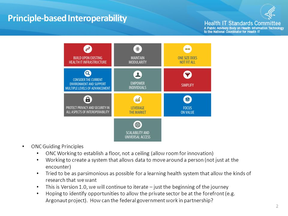 Principle-based Interoperability 2 ONC Guiding Principles ONC Working to establish a floor, not a ceiling (allow room for innovation) Working to create a system that allows data to move around a person (not just at the encounter) Tried to be as parsimonious as possible for a learning health system that allow the kinds of research that we want This is Version 1.0, we will continue to iterate – just the beginning of the journey Hoping to identify opportunities to allow the private sector be at the forefront (e.g.