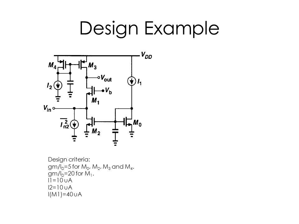 Design Example Design criteria: gm/I D =5 for M 0, M 2, M 3 and M 4. gm/I D =20 for M 1. I1=10 uA I2=10 uA I(M1)=40 uA