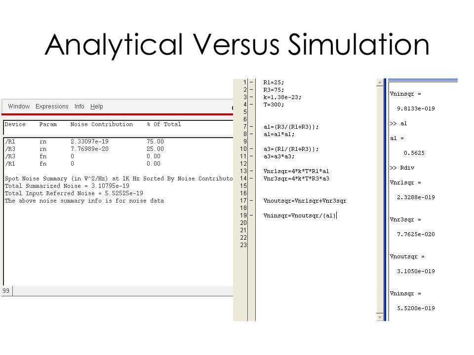 Analytical Versus Simulation